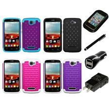 For Alcatel One Touch Fierce 2 Rhinestone Rugged Armor Bling Case Charger Stylus