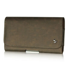 Luxmo Brown Executive PU Leather Belt Clip Holster Pouch Clip Case For Phones
