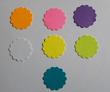 """1.5"""" Scalloped Circles Gift Tags Scrapbooking Toppers Cardstock Assorted Colors"""