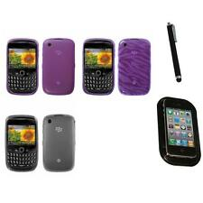 For BlackBerry Curve 8530 / 8520 TPU Rubber Skin Flexible Case Cover Mount+Pen