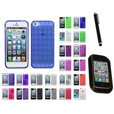 For Apple iPhone 5/5S/SE TPU Rubber Skin Flexible Case Phone Cover Mount+Pen