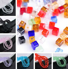 50~200pcs 3mm Cube Square Faceted Crystal Glass Loose Spacer Beads Charms