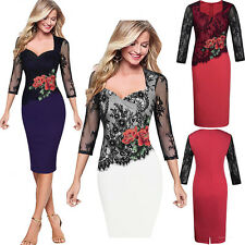 Floral Womens Lace Bodycon Midi Dress Cocktail Party Peplum Pencil Dress UK 8-18