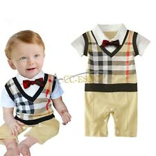 Baby Boys one-piece playsuit Romper Bodysuit Jumpsuit Gentlemen Clothing Outfits