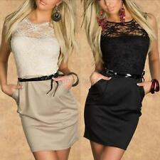 Women Party Dress Mini Short Pencil Sleeveless Floral Lace Cocktail Party Dress