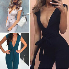 Fashion Womens V Neck Plunge Bodycon Bandage Jumpsuit Sexy Party Dress Playsuit