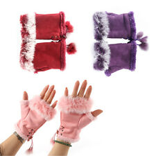Women's Gloves Fingerless Mittens Hand Wrist Rabbit Fur Plush Winter Half Finger
