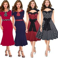 Rockabilly Retro Vintage Pin Up Womens Polka Dot Contrast Pencil Sheath Dresses