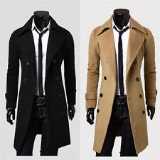 Mens Fashion Double-breasted Parka Trench Coat Warm Wool Peacoat Outerwear