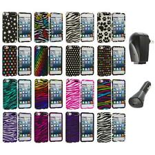 Zebra Polka Dot Hard Design Case Cover+2X Chargers for iPod Touch 5th Gen 5G