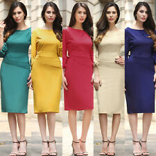 Womens Puff Sleeve Belt Bodycon Midi Ruched Dress Work Wear Cocktail Party Dress