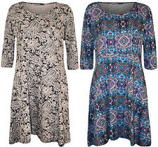 New Plus Size Womens Print 3/4 Sleeve Belted Ladies Long Top Short Dress 14 - 28