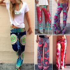 Women's Pants Tribal Beach Baggy Boho Floral Yoga Wide Leg Gypsy Trousers New YT