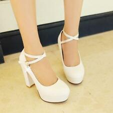 Women Ankle Strap Strappy Platform Round Toe Chunky High Heels Shoes New Party Y