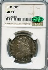 1834  Capped Bust Half Dollar AU 55 NGC & CAC.