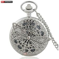 Steampunk Dragonfly hollow Quartz Silver Pocket Watch Gift Necklace Chain Retro