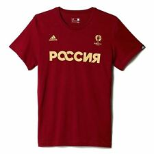 adidas Russia Climalite T-Shirt Mens Red Football Soccer Top Tee Shirt