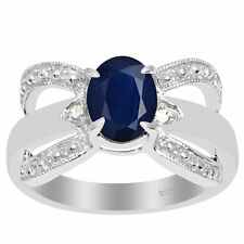 Orchid Jewelry 925 Sterling Silver 1 1/2 Carat Sapphire and Diamond Accent Anniv