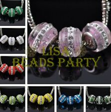14X10mm Lampwork Glass Murano Rhinestone European Charms Loose Big Hole Beads