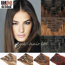 Deluxe 8 Pcs Clip In 100% Real Remy Human Hair Extension Full Head Straight U754