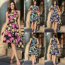 Womens Rose Floral Retro 50S Rockabilly Evening Party Skater Swing Dress Plus