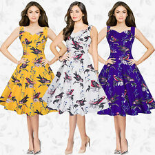 UK Womens 40's 50's Vintage Audrey Style Rockabilly Retro Floral Tea Party Dress