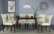 Suffolk Oval Dark Wood Dining Room Table & 4 6 Bewley Leather Chairs Set (Ivory)