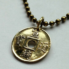 1909-1910 China 1 Cash coin pendant Chinese necklace Guangdong Qing Puyi n001416
