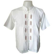 Mens White T-Shirt 100% Cotton Thai Hippie Embroider Shirt Chinese Collar S-XXL