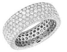 Ladies 14K White Gold Real Diamond 3D Eternity Anniversary Band Ring 4.41CT 7MM
