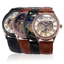 Luxury Automatic Mechanical Brown Leather Stainless Steel Mens Wrist Watch