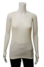 Womens G Casual Vest Tank Top Ribbed Ivory White Size 10 to 18 Ladies A8