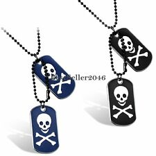 Army Military Skull Dog Tags Pendant Necklace w Chain for Men's Jewelry Gift