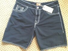 NWT TRUE RELIGION JEANS MEN'S SURF SWIM BEACH BOARD SHORTS TRUNKS Black size 28
