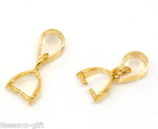 Wholesale 02 Gold Plated Pinch Clip Bail Beads Findings 13x5mm