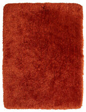 Terracotta Thick Shaggy 8cm Pile Rug Luxury Hand Tufted Heavyweight Montana Mat