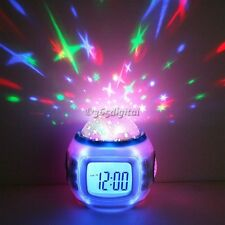 Hot LED Starry Sky Projection Calendar Thermometer Music Digital Alarm Clock 35D