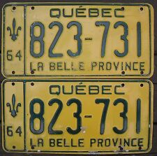 ★•☆•★▄▀▄▀▄█▓▒AUTHENTIC CANADA 1964 QUEBEC PAIR OF LICENSE PLATES.