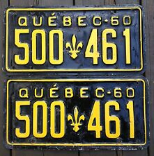 ★•☆•★▄▀▄▀▄█▓▒AUTHENTIC CANADA 1960 QUEBEC PAIR OF LICENSE PLATES.