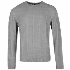 Lee Cooper Jacquard Knit Crew Jumper Mens Grey Sweater Pullover Top