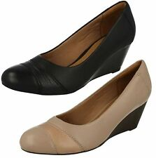 'Ladies Clarks' Rounded Toe Slip On Wedge Heeled Shoes - Brielle Tacha