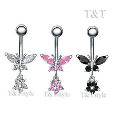 TT CZ Butterfly Flower Dangle Belly Bar Ring Body Piecing (BL95)