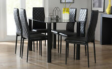 Lunar Glass Dining Table and 4 6 Renzo Chairs Set (Black)