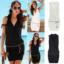 Womens Sexy V-Neck Summer Beach Bodycon Cocktail Party Clubwear Short Midi Dress
