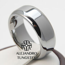 Tungsten Ring Wedding Anniversary Band 8MM Precious Polished Shiny Size 6 to 14