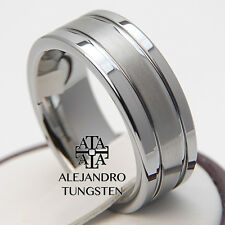 Tungsten Ring Luxury Wedding Band 8MM Exquisite Brushed Design Size 6 to 14