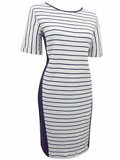 New M&S Marks and Spencer White Navy  Cotton Striped Tunic Sweater Dress 10-18