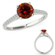 0.75 Carat Red Diamond Beautiful Solitaire Eternity Bridal Ring 14K White Gold