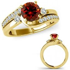 1.5 Carat Red Diamond By Pass Three Stone Ring Fancy Band Set 14K Yellow Gold