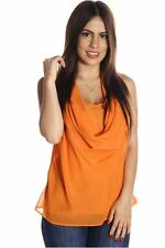 DEALZONE Sexy Chiffon Draped Top L 2X 3X Large Women Orange Casual